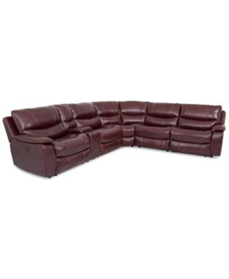 CLOSEOUT Daren Leather 6 Pc Sectional Sofa With 3 Power