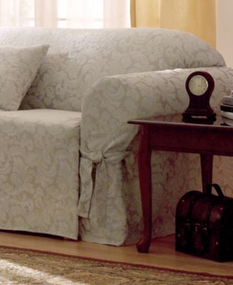 chic chair covers birmingham leather ottoman set slipcovers macy s sure fit scroll furniture