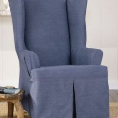 Black Wingback Chair Covers Green Armchair Shop For And Buy Sure Fit Authentic Denim Wing Slipcover