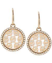 Michael Kors Crystal-Framed Logo Disc Drop Earrings ...