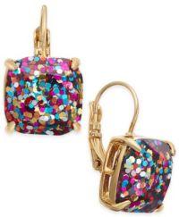 kate spade new york Gold-Tone Glitter Drop Earrings ...