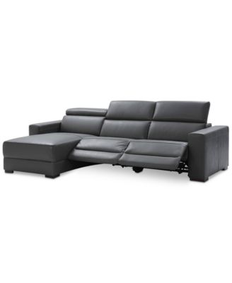 macys leather sofa with chaise corner electric recliner nevio 3-pc sectional chaise, 2 power ...