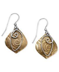 Jody Coyote Bronze Earrings, Textured Drop Earrings ...