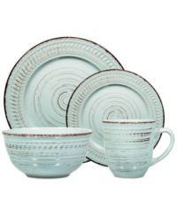 Home Essentials 16-Pc. Aqua Distressed Dinnerware Set ...