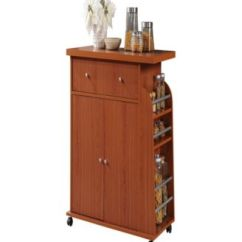 Cherry Kitchen Cart Faucets Stainless Steel Hodedah With Spice Rack In Furniture Macy S Main Image