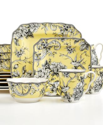 222 Fifth Adelaide Yellow Square 16Pc Set Service for 4