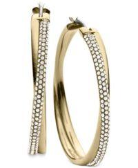 Michael Kors Clear Pav Crisscross Hoop Earrings