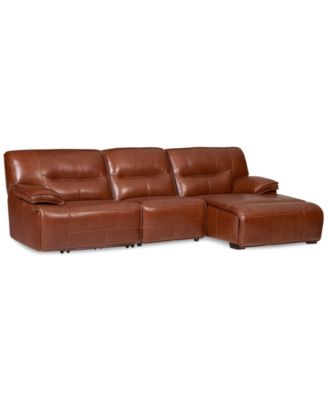 macys leather sofa with chaise curved back cover beckett 3-piece sectional & 1 ...