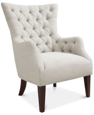 bedroom chair with skirt leather office no wheels chairs macy s adelyn button tufted wing back quick ship