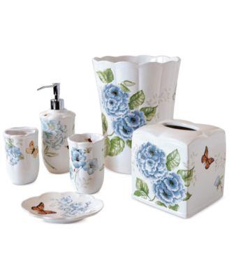 Lenox Blue Floral Garden Bath Collection  Bathroom