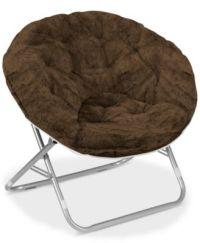Arron Adult Faux Fur Saucer Chair, Quick Ship - Furniture ...