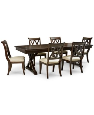 high top table with 6 chairs rattan kitchen dining room sets macy s baker street furniture 7 pc set trestle
