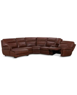 cream full leather chaise sectional sofa a in the forties analysis sofas macy s myars 6 pc with 1 power recliner headrest