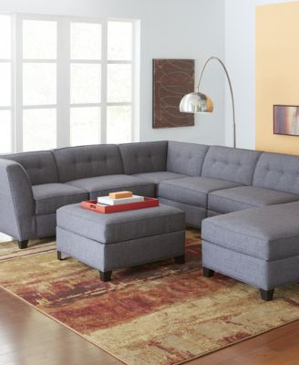 harper fabric 6 piece modular sectional sofa set cleaners in mombasa furniture closeout with ottoman created for macy s