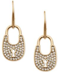 Michael Kors Pav Crystal Lock Drop Earrings