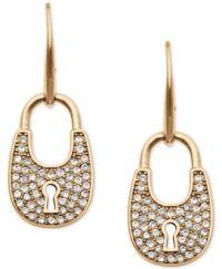 Michael Kors Pav Crystal Lock Drop Earrings