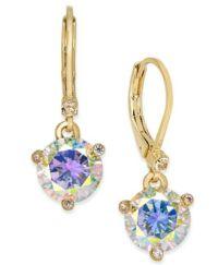 kate spade new york Gold-Tone Blue Crystal Drop Earrings ...