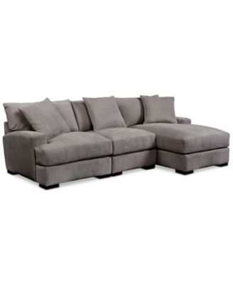 macy sofa sectional wicker sofas perth rhyder 3-piece with chaise - furniture macy's