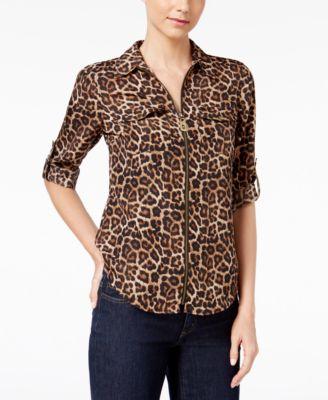 MICHAEL Michael Kors Animal Print Zip Up Utility Shirt