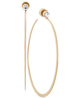 Michael Kors Crystal Accented Large Hoop Earrings