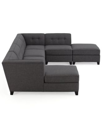 harper fabric 6 piece modular sectional sofa rekarne table hack furniture closeout with chaise ottoman created