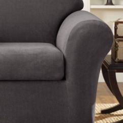 Gray Chair Slipcover How To Make Chairs Slide On Carpet Sure Fit Stretch Metro 2 Piece Collection Slipcovers
