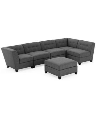 Harper Fabric 6piece Modular Sectional Sofa With Ottoman