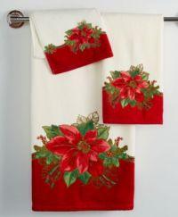Lenox Holiday Poinsettia Tartan Bath Towel Collection ...