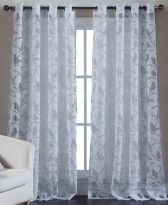 Kensie Home Jaye Sheer Burnout 55 x 84 Panel  Curtains
