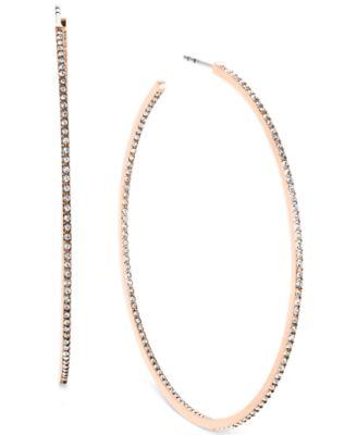 Michael Kors Crystal Pav Large Hoop Earrings