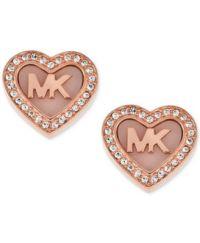 Michael Kors Rose Gold-Tone Pav Logo Heart Stud Earrings ...