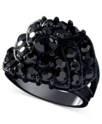 GUESS Jet Black Crystal Accent Ring - Jewelry & Watches ...