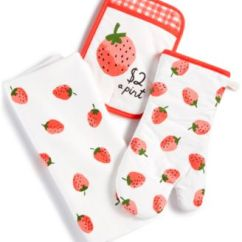Kate Spade Kitchen Nook Style Table New York 3 Pc Strawberry Towel Set