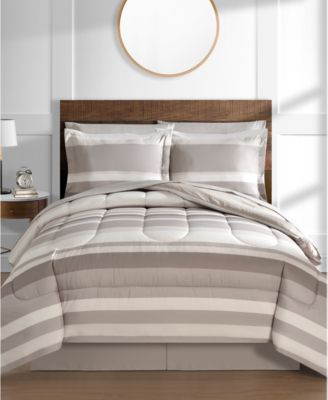 tan beige bed in a bag and comforter