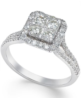 Macys Square Diamond Cluster Engagement Ring 34 ct tw in 14k White Gold  Rings  Jewelry