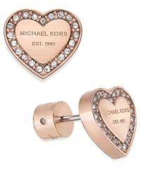 Michael Kors Crystal Heart Stud Earrings - Fashion Jewelry ...