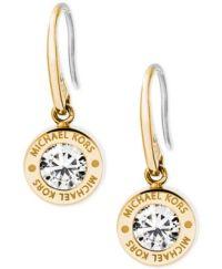 Michael Kors Bezel Set Crystal Logo Drop Earrings ...