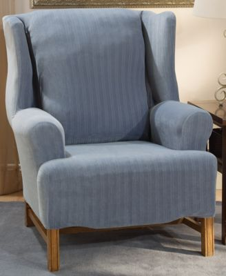 wingback chair cover most expensive sold covers shop for and buy sure fit stretch pinstripe wing slipcover