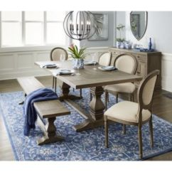 Dining Set With Bench And Chairs Revolving Armchair Kitchen Room Sets Macy S Tristan Trestle Furniture 6 Pc Table 4