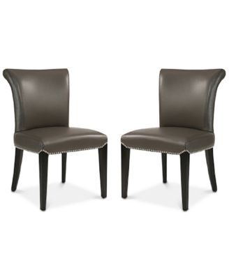 leather dining room chairs laflorn chairside end table kitchen macy s gavin chair set of 2 quick ship