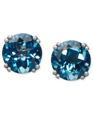 14k White Gold Earrings London Blue Topaz Stud Earrings