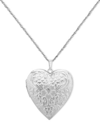 4 Photo Engraved Heart Locket In Sterling Silver