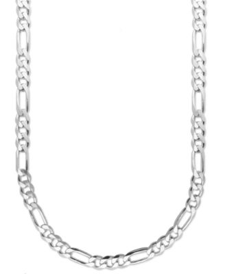 Mens Sterling Silver Necklace 22 8mm Figaro Chain
