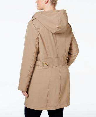 Via spiga plus size water repellent hooded raincoat coats women macy   also rh macys