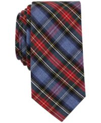 Bar III Men's Blue Heather Stew Tartan Slim Tie, Only at ...