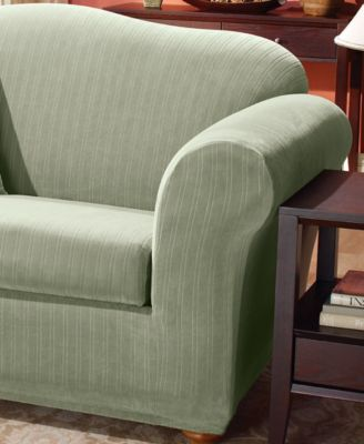 sure fit 2 piece t cushion sofa slipcover ivory stretch pinstripe this item is part of the collection