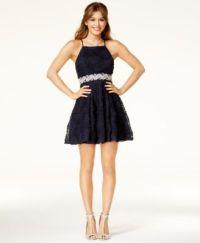 Trixxi Juniors' Embellished Soutache Fit & Flare Dress ...