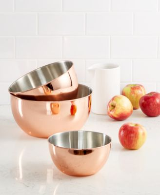 macy's kitchen sets rug runners for martha stewart collection 3 pc copper plated mixing bowl set main image