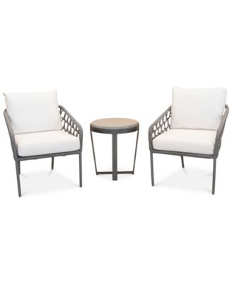 2 accent chairs and table set white wooden rocking chair outdoor furniture closeout key largo aluminum 3 pc seating 1 end with sunbrella cushions created for macy s