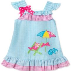 Toddler Beach Chairs Fold Out Chair Rare Editions Gingham Seersucker Dress Girls